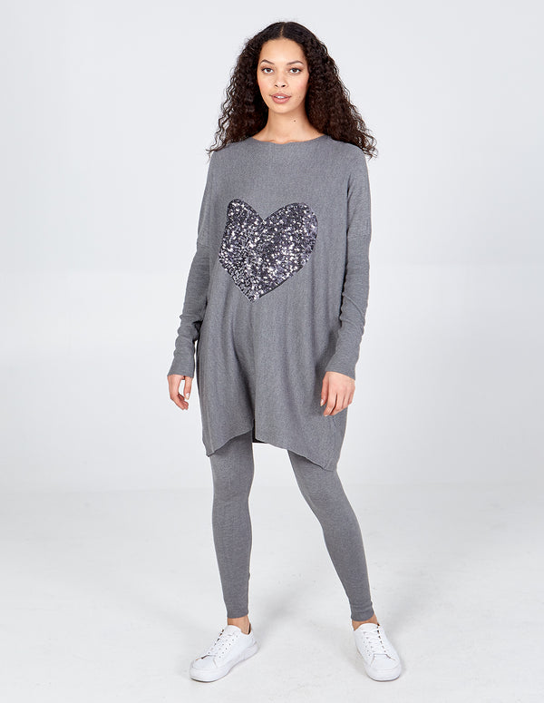 TIANA - Sequin Heart Oversized Top & Jogger Set