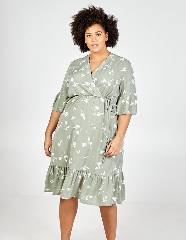 HAJRA - Curve Frill Detail Wrap Midi Dress