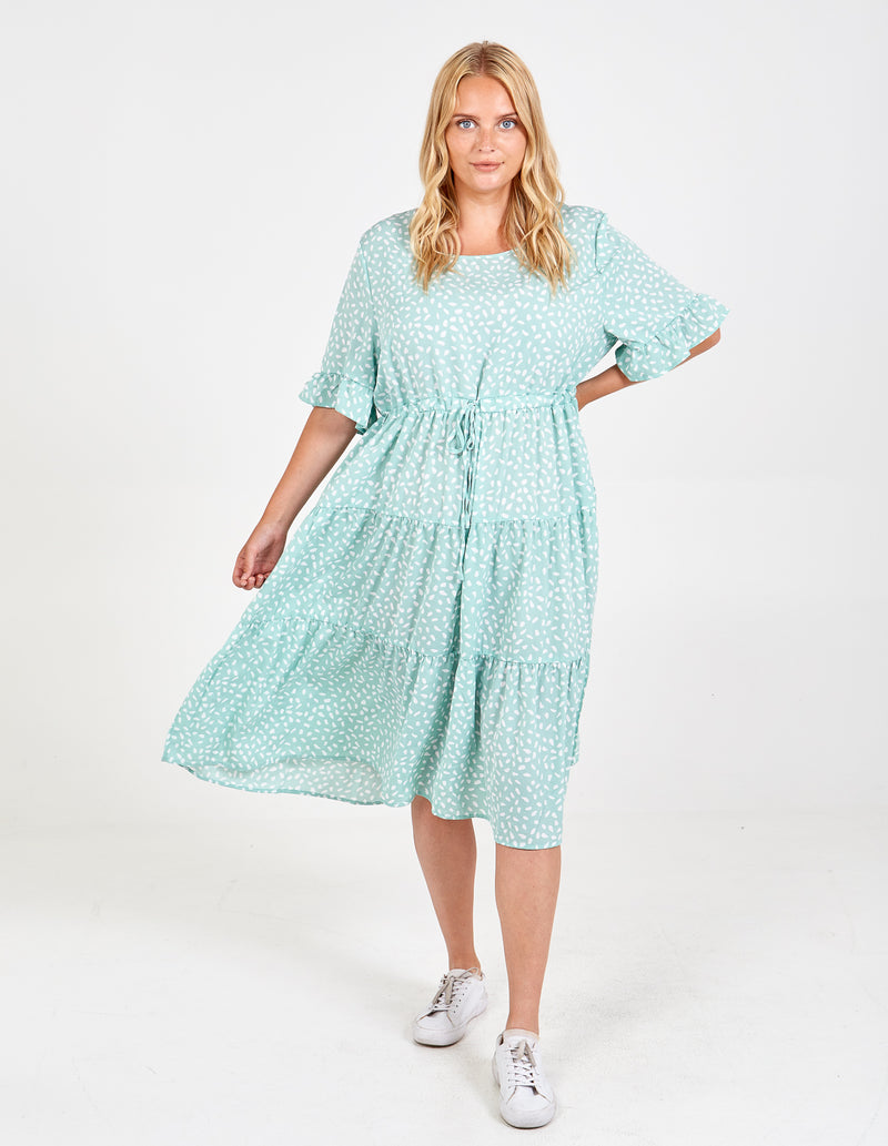VIVIENNE - Curve Drawstring Tiered Midi Dress