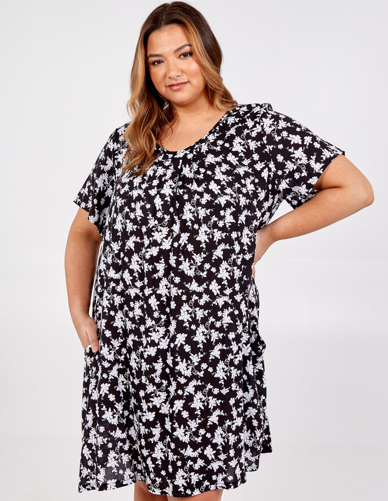 LILLIE - Curve Short Sleeve Swing Dress