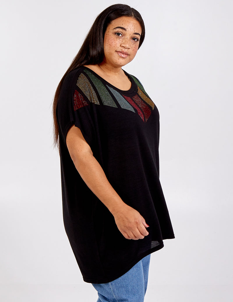 EMAAN - Curve Diamante Chevron Top