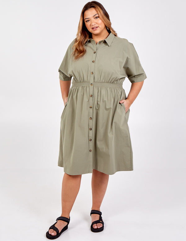 IMAN - Curve Shirring Waist Batwing Shirt Dress