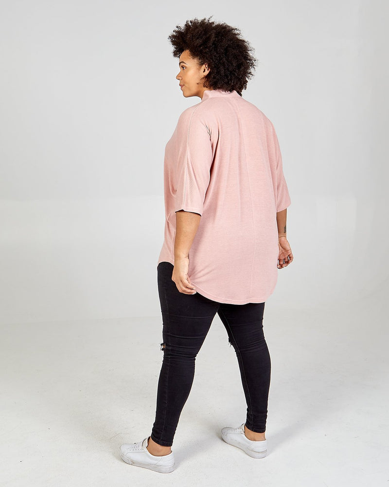 SAIRA - Curve Button Front Oversized Top