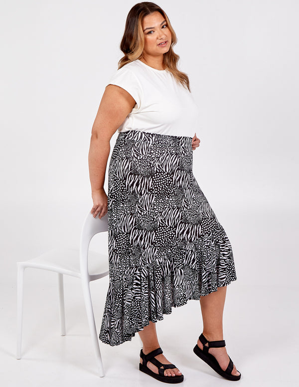 ALISHA - Asymmetric Hem Tiered Midi Skirt