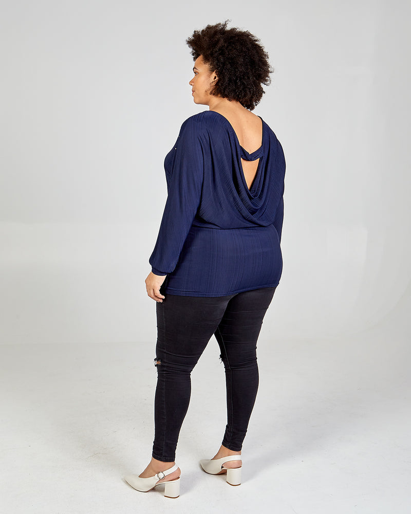 MONICA - Curve Back Bar Embellished Tunic Top