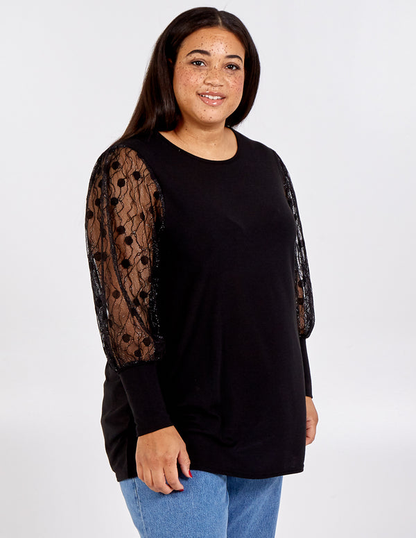 SARAH - Curve Lace Sleeve Jumper