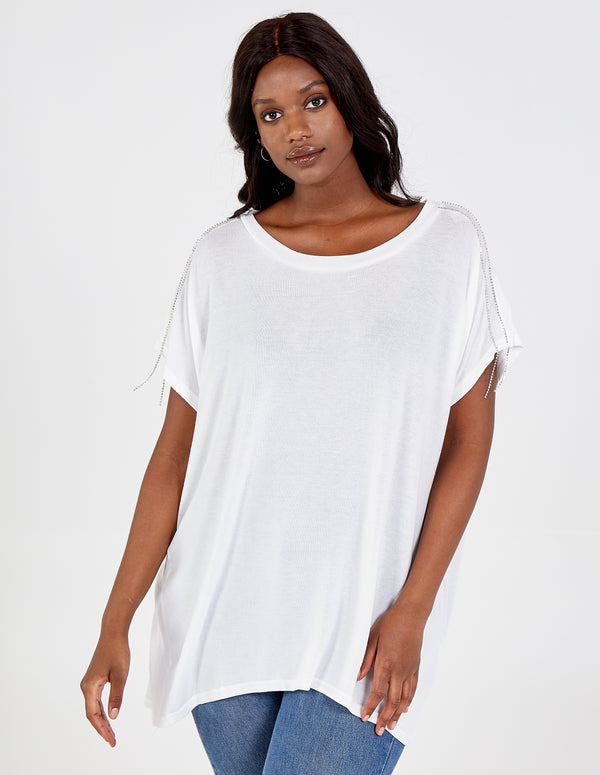 ELINA - Curve Oversized Diamante Top