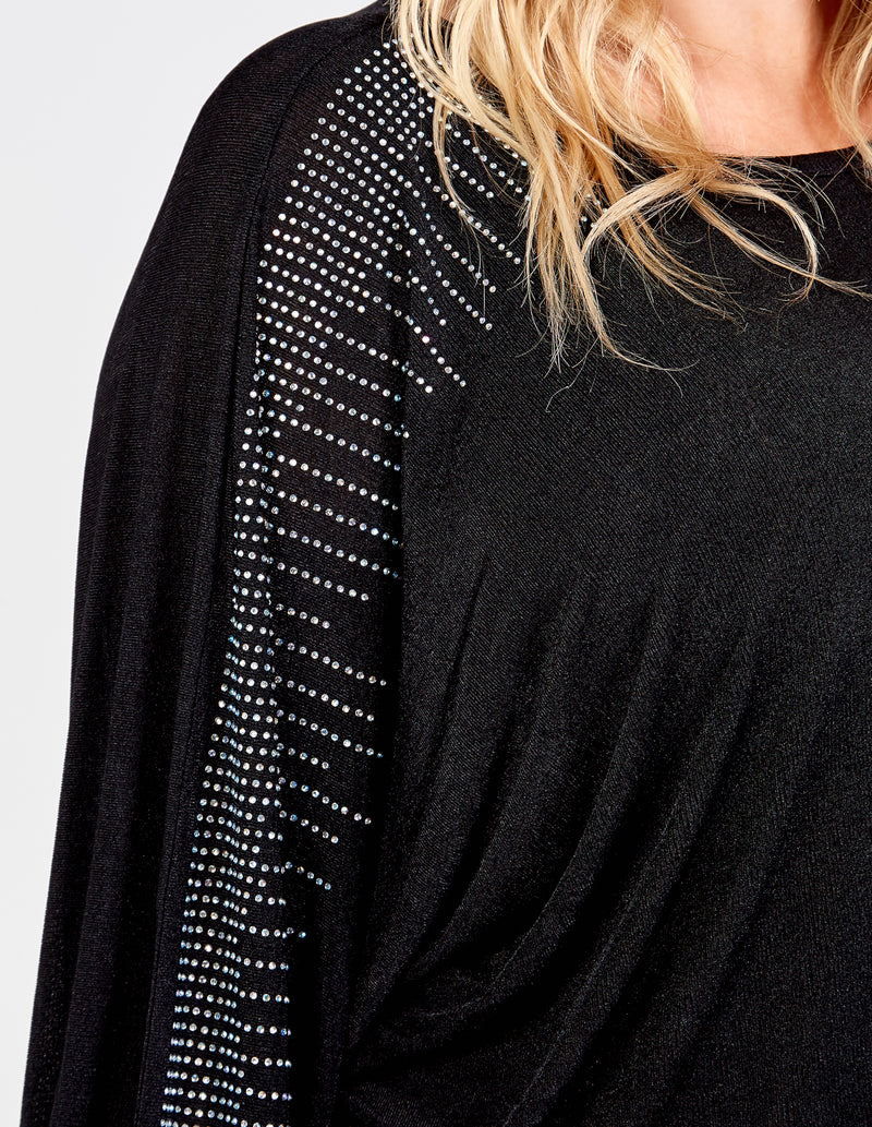 ABBY - Curve Diamante Batwing Top
