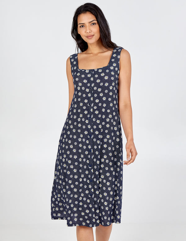 MYAH - Button Front Swing Midi Dress