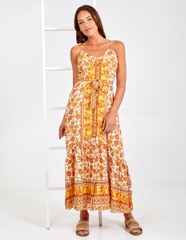 ZOHA - Button Front Floral Print Maxi Dress