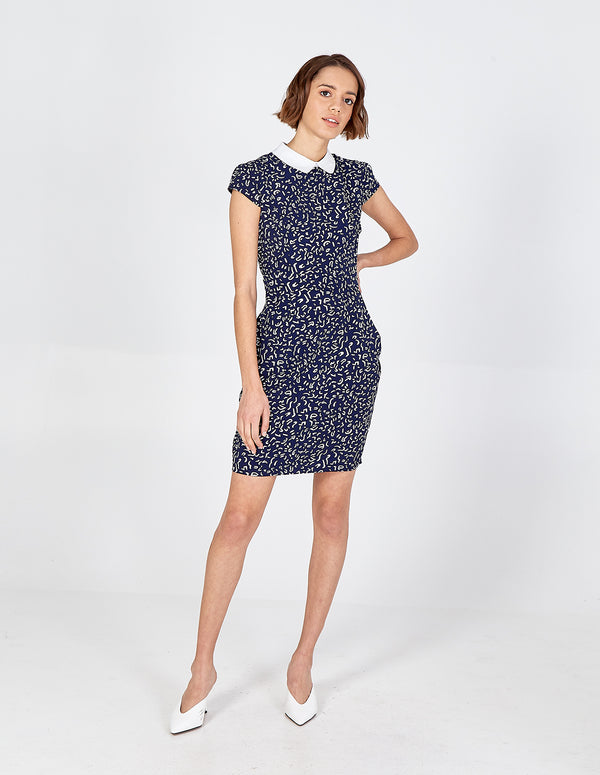 SAMARA - Navy Collar Detail Abstract Tulip Dress