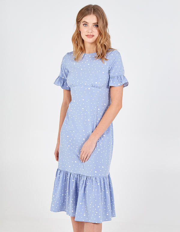 SIENNA - Curved Seam Tiered Hem & Sleeve Polka Midi Dress