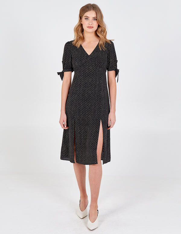 INARA - Tie Sleeve V Neck Midi Dress