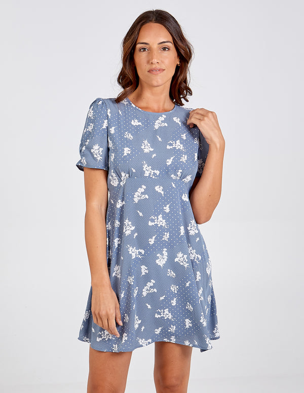 SAARAH - Polka Flower Puff Sleeve Dress