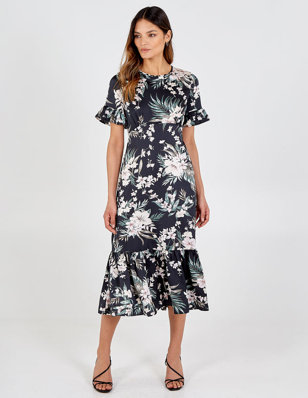 DAKOTA - Curved Seam Tiered Hem & Sleeve Floral Midi