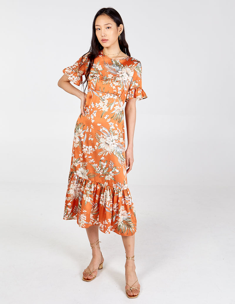 DAKOTA - Curved Seam Tiered Hem & Sleeve Floral Midi Dress