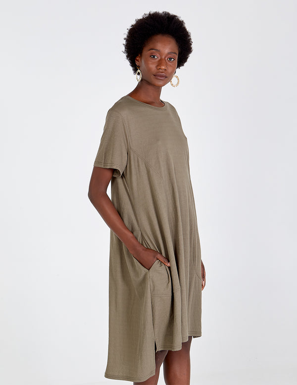 NERIAH - Khaki Oversized Panel Pockets Tunic Dress