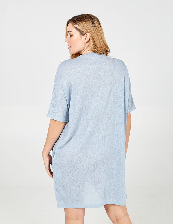 ELIZABETH - Blue Oversized Asymmetric Pocket Tunic Dress