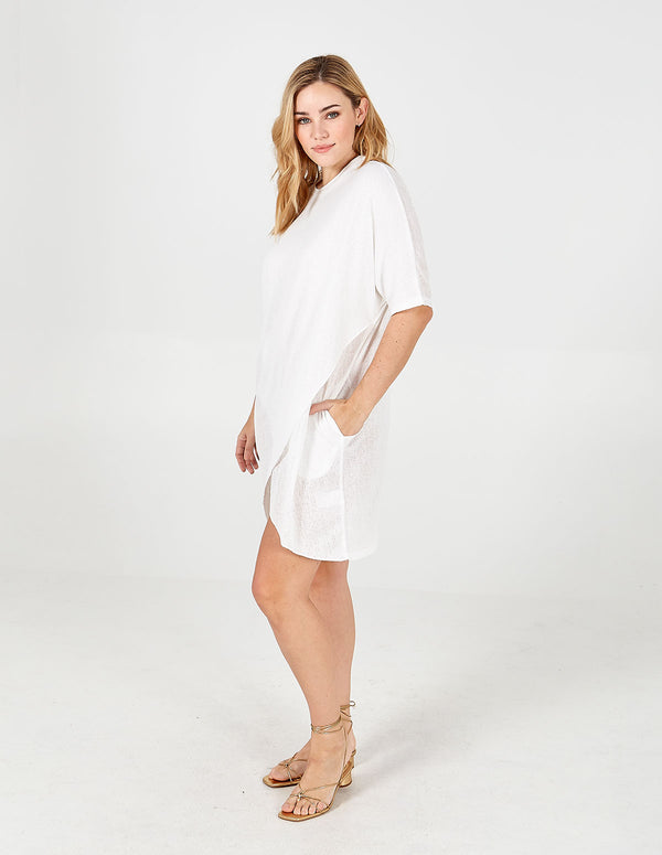 ELIZABETH - White Oversized Asymmetric Pocket Tunic Dress