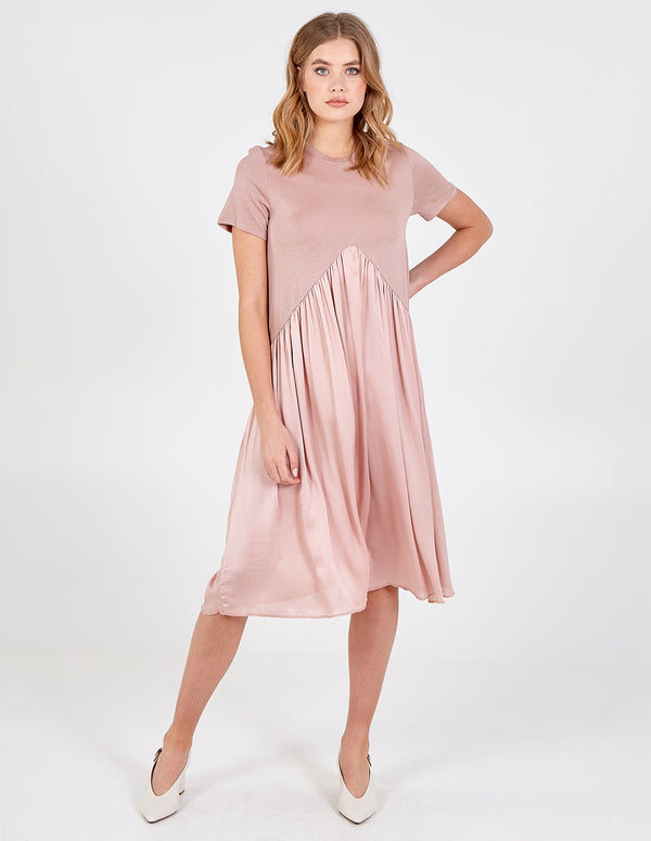 DANIELA - 2 in 1 Pleated Tee Midi Dress