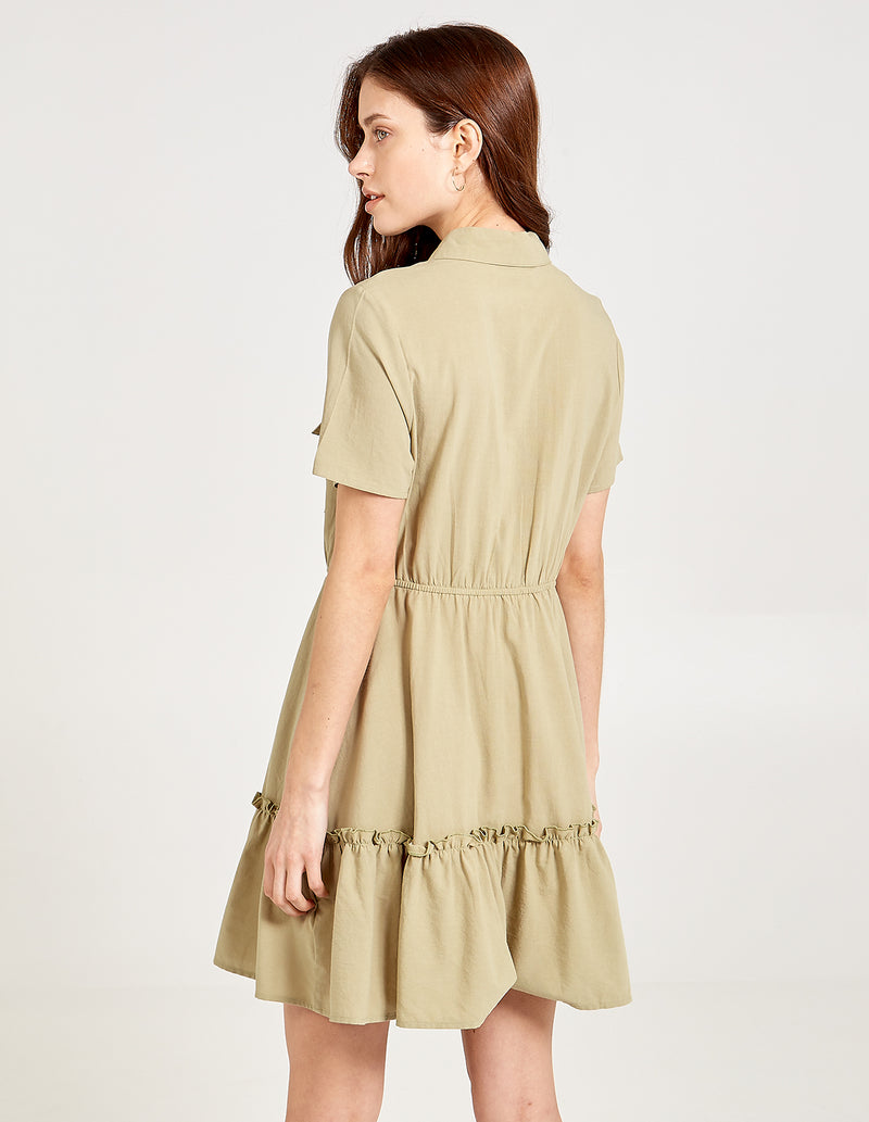 SOPHIA - Tiered Hem Patch Pocket Shirt Dress