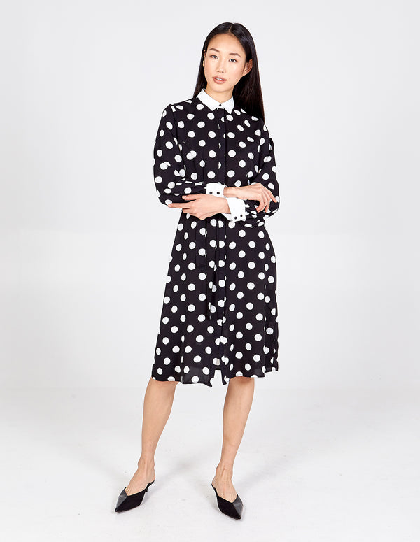 MATHILDA - Balloon Sleeve Contrast Detail Shirt Dress
