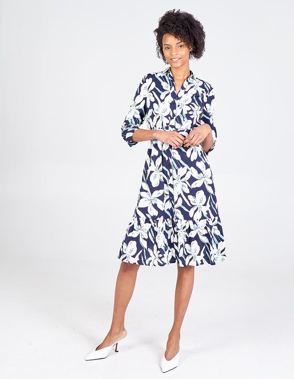AURORA - Floral Belted Tiered Shirt Dress