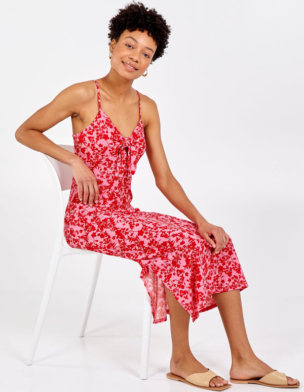 RILEY - Tie Front Cami Midi Dress
