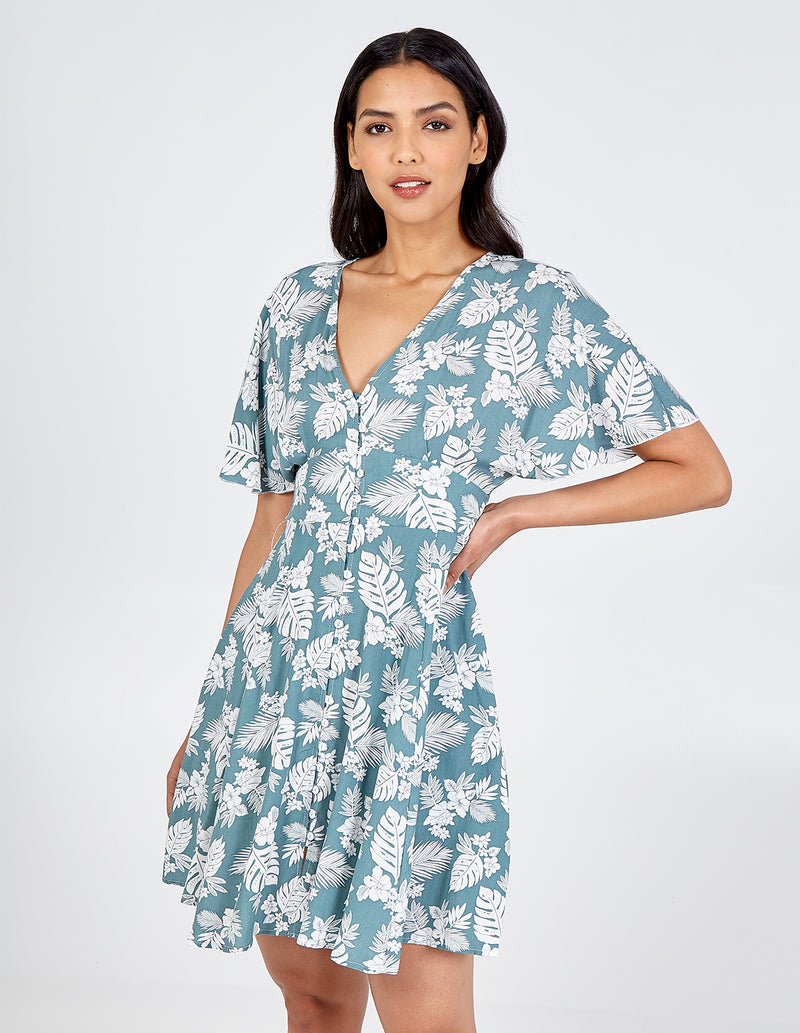 AUBREE - Button Through Tropical Print Dress