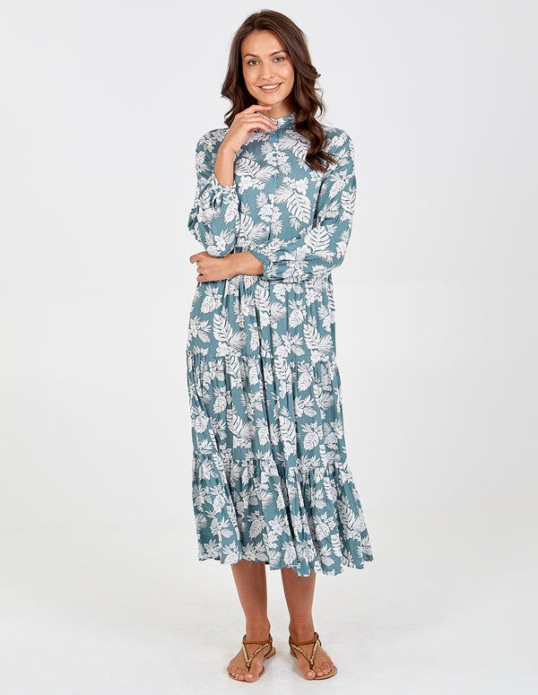 NIEVE - Button Front Tiered Maxi Dress