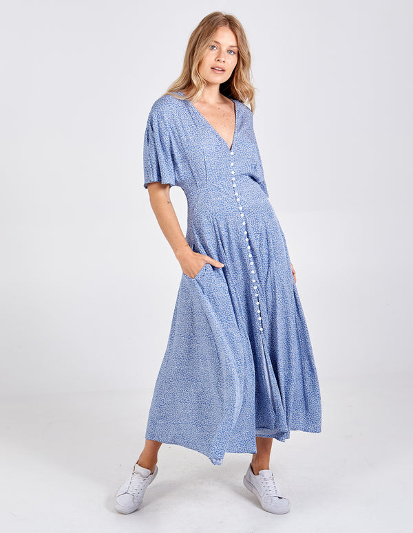 MEGAN - Button Front Shirring Back Maxi Dress