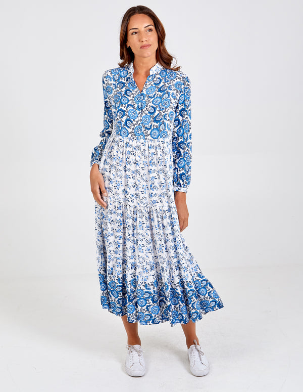 FRANCESCA - Half Placket Floral Maxi Dress