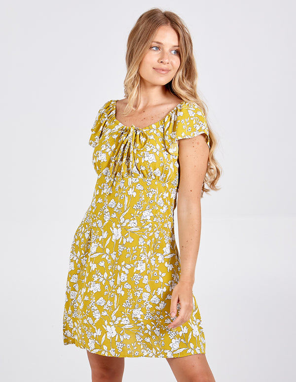 NEL - Gathered Bust Capped Sleeve Swing Dress