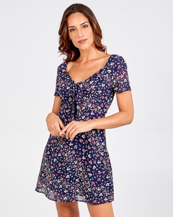 AAMINA - Tie Front Short Sleeve Tea Dress
