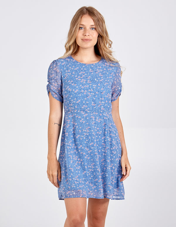 AMNA - Ruched Sleeve Dotty Print Tea Dress