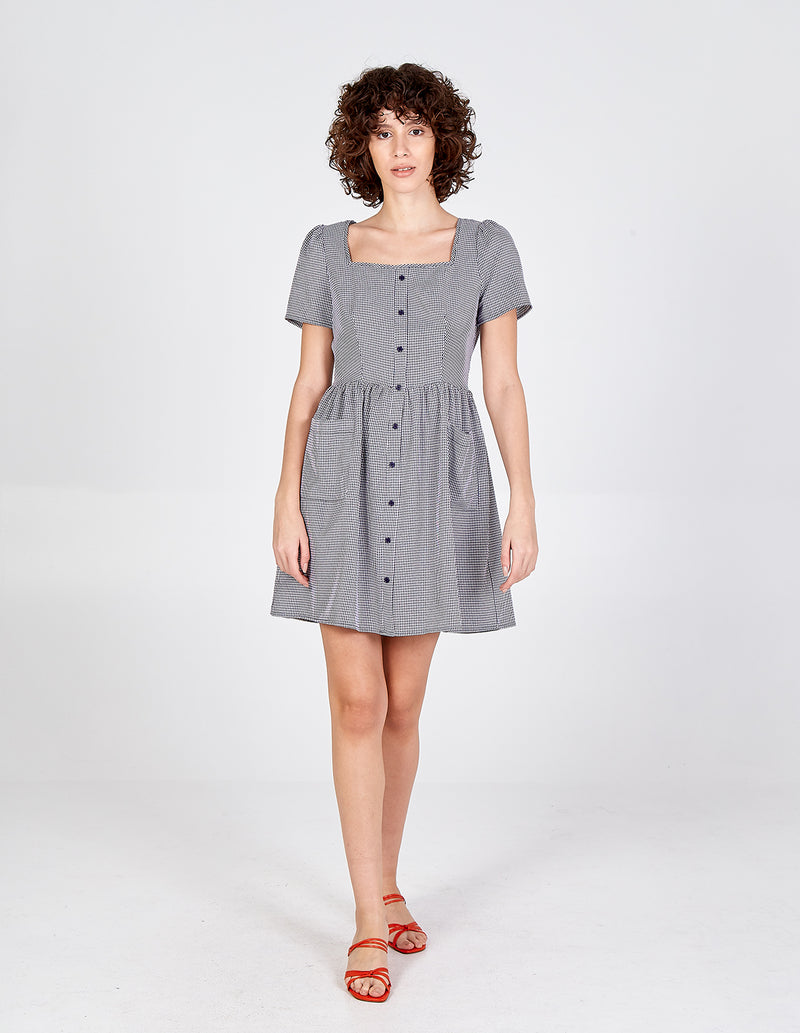 HAFSA - Button Front Patch Pocket Smock Dress