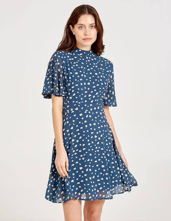 SAFAA - Angel Sleeve High Neck Fit & Flare Dress