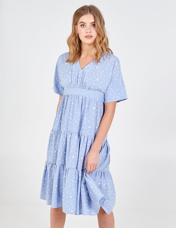 ANAIYA - Tiered Tie Waist Batwing Midi Dress