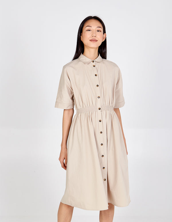 IMAN - Oversized Elasticated Waist Shirt Dress