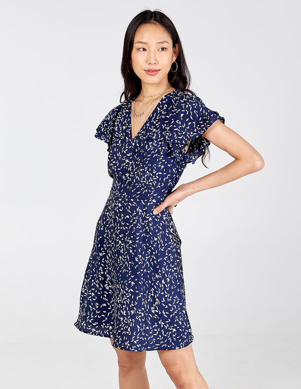 DAHLIA - Wrap Front Frill Sleeve Dress