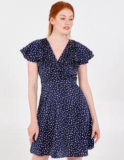 SAMIRA - Wrap Front Polka Dot Frill Sleeve Dress
