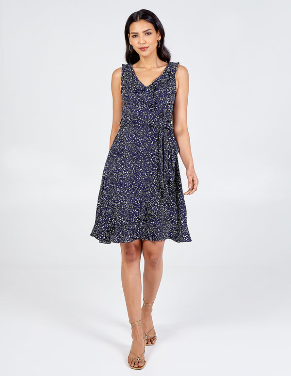 DUA - Sleeveless Frill V-Neck Dress