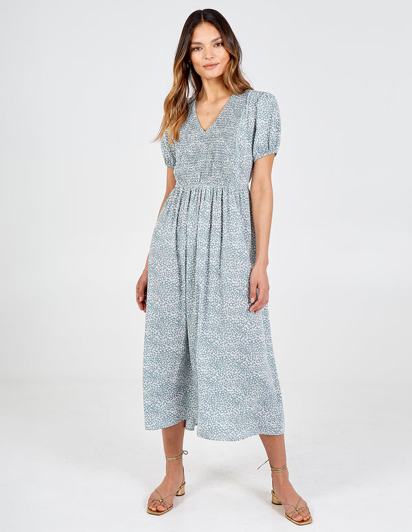 ISABEL - Puff Sleeve Shirring Front Midi Dress