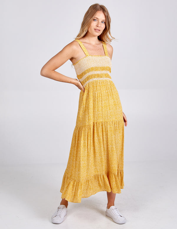 HAFSAH - Zigzag Shirring Tiered Midi Dress