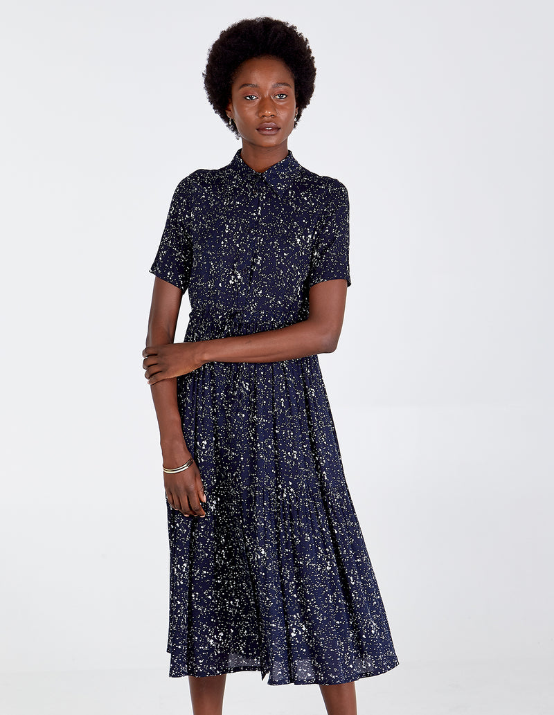KEIRA - Button Through Splatter Spot Maxi Dress