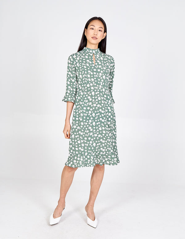 SUMMER - High Neck Keyhole Midi Dress