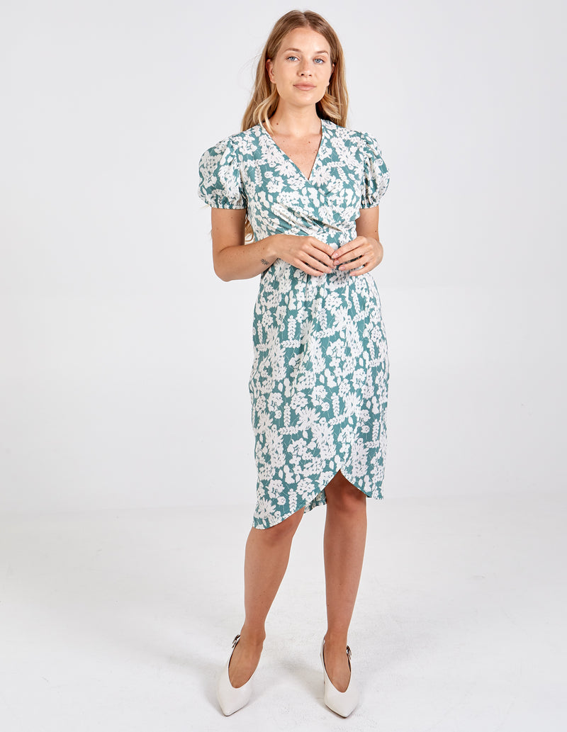 LAUREN - Puff Sleeve Tulip Midi Dress