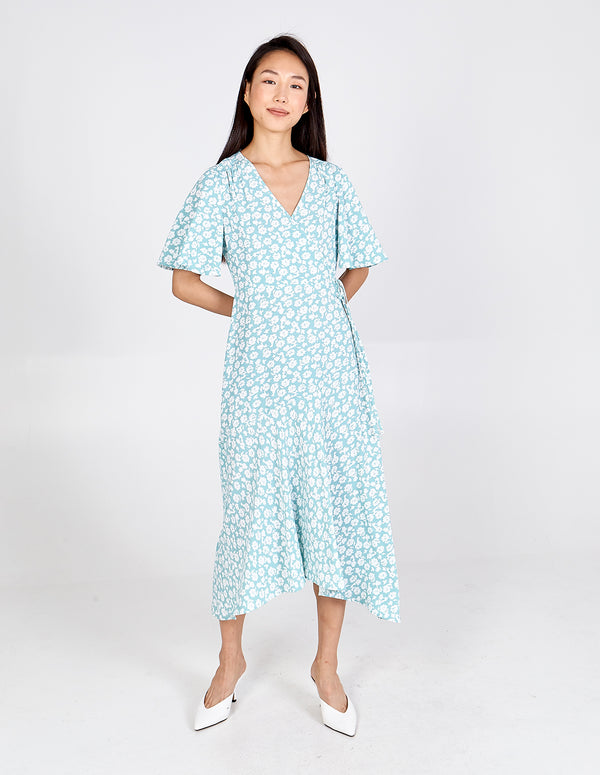 BOBBIE - Angel Sleeves Wrap Midi Dress