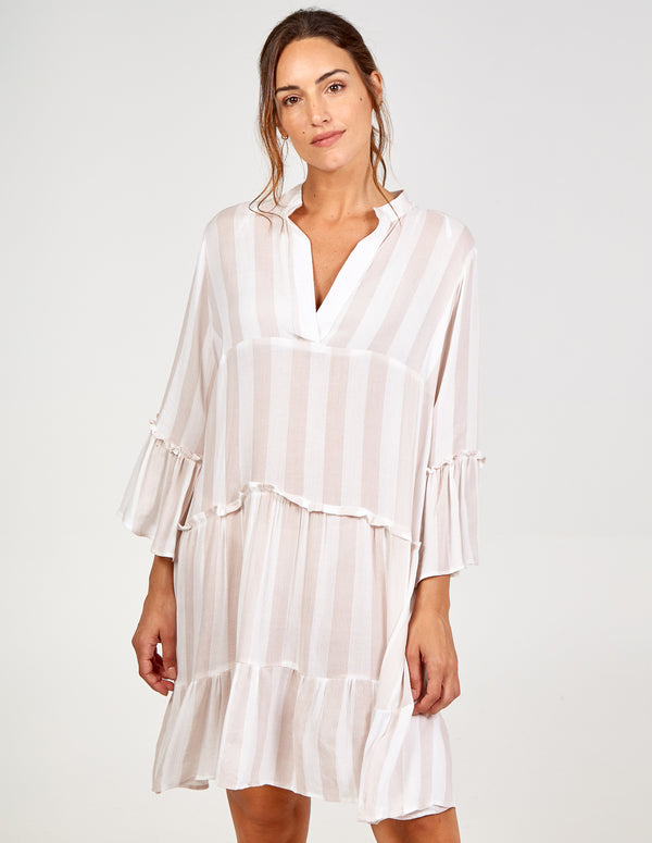 SONIA - V Neck Tired Frill Detail Oversized Dress