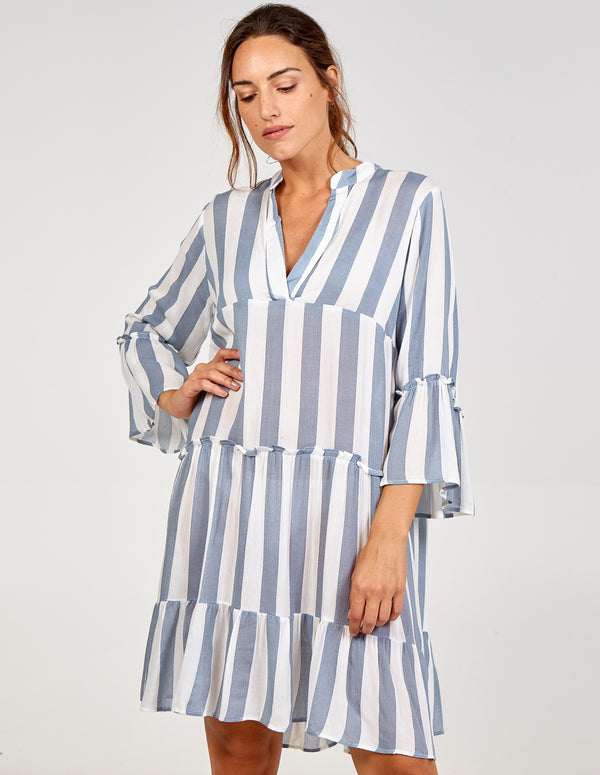 SONIA - V Neck Tired Frill Detal Oversized Dress